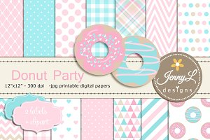 Donut Digital Paper & Clipart Girl
