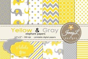 Yellow & Grey Elephant Digital Paper