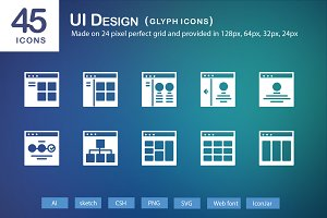 45 UI Design Glyph Icons