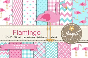 Pink Flamingo Digital Paper