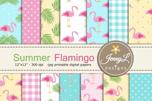 Summer Flamingo Digital Paper