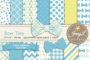 Bow Ties Digital Paper & Clipart