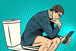 businessman thinker on toilet