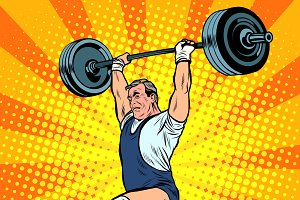 Weightlifting a weightlifter raises