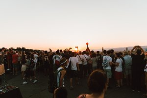 Crowd of People at sunset