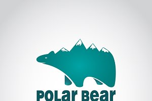 Vector image of bear with mountains