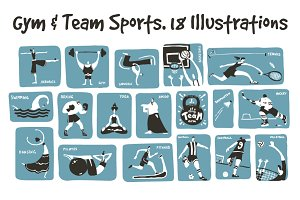 18 Gym & Team Sports Illustrations