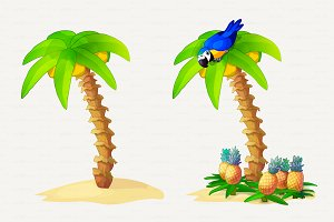 ♥ vector Palm on Island
