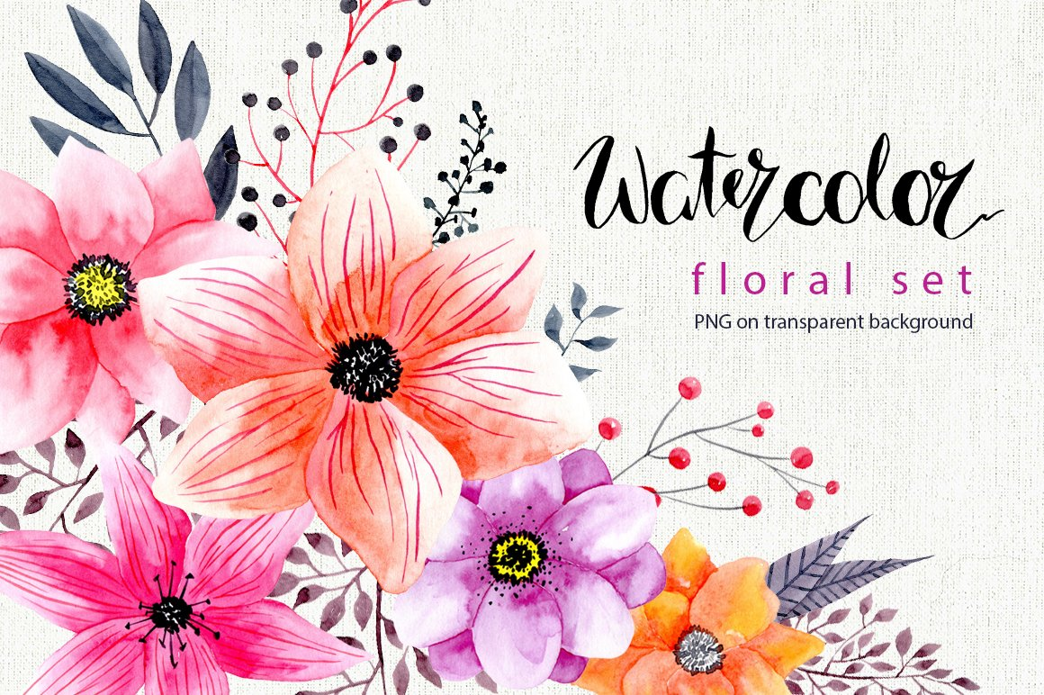 Watercolor Png Flowers Graphics Creative Market