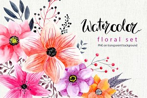 Watercolor png flowers