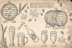 Beer set. Hand drawn objects.