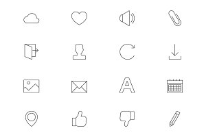 Web interface outline icons vol 2