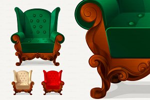 ♥ vector Set retro armchairs