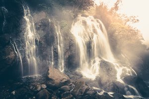 Waterfall in vintage tone.