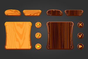 Set wooden game assets