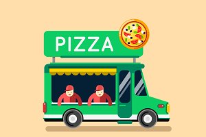 Food truck pizza cafe