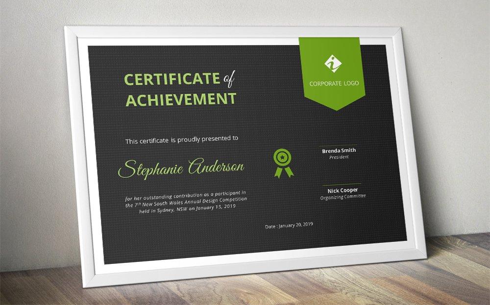 Dark Ribbon Word Certificate Docx Stationery Templates