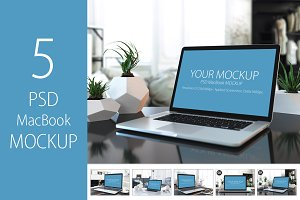 5 PSD Mockup Apple MacBook