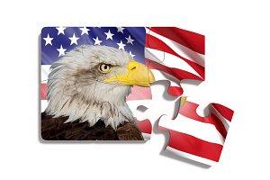 USA and bald eagle puzzle flag