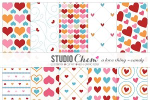 Candy Love Digital Pattern Papers