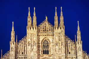 Night view of famous Milan Cathedral