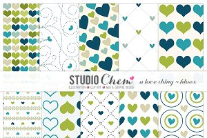 Love Blues Digital Pattern Papers