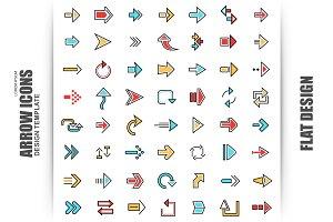 56 Flat Line Arrow Icons