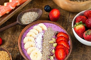 Acai berry smoothie with fruits