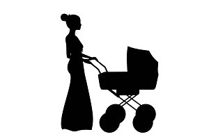 Silhouette woman with baby stroller