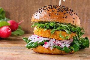 Homemade sweet potato burger