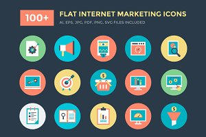 100+ Flat Internet Marketing Icons