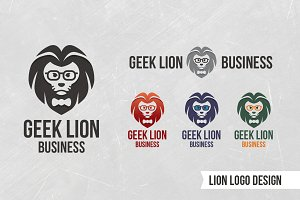 Geek Lion Business Flat Vector Logo