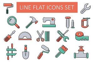 Line flat icon set