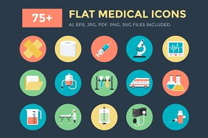 75+ Flat Medical Vector Icons