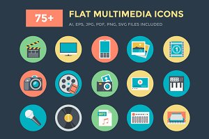 75+ Flat Multimedia Vector Icons