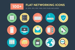 100+ Flat Networking Vector Icons