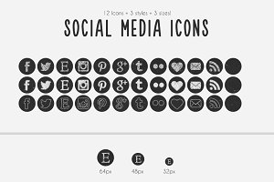 Round Chalkboard Social Media Icons