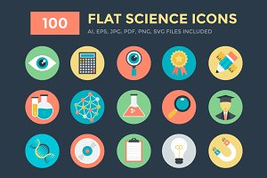 100 Flat Science Icons