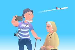 Old people travelling vector image