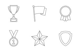 Trophy and awards outline icons