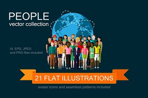 People. Flat vector set