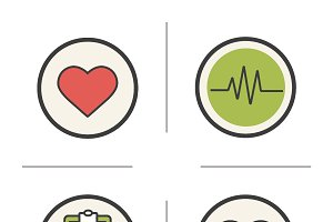 Cardiology icons. Vector