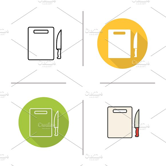 Cutting board icons. Vector - Icons