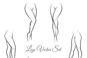Woman legs vector set
