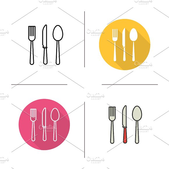 Cutlery icons. Vector