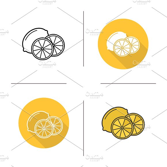 Lemon icons. Vector in Graphics