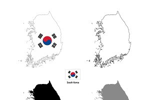 South Korea country silhouettes