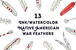 Hand drawn Native American feathers