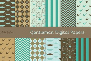Gentleman Digital Papers Blue/Brown