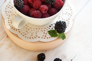 fresh  raspberries and blackberries